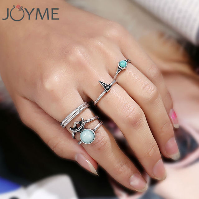 vintage jewelry wholesale new design lots rings set antique silver-color blue stone random size moon and star rings for women