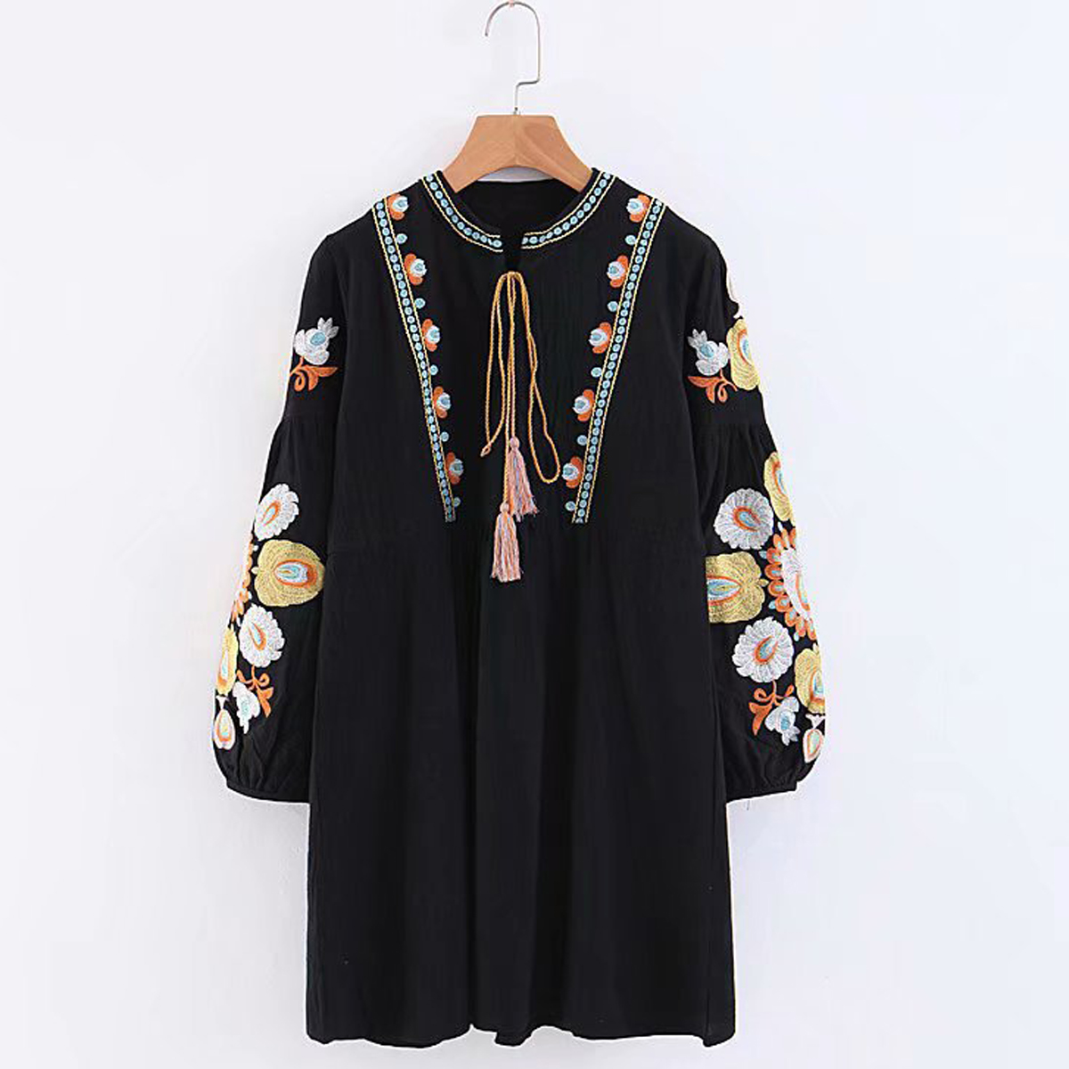 7e4bc4be5ae9f Jastie Lace up O-Neck Women Dress Boho Floral Embroidered Dresses Long  Sleeve Loose Autumn Dress 2018 Hippie chic Mini Dresses