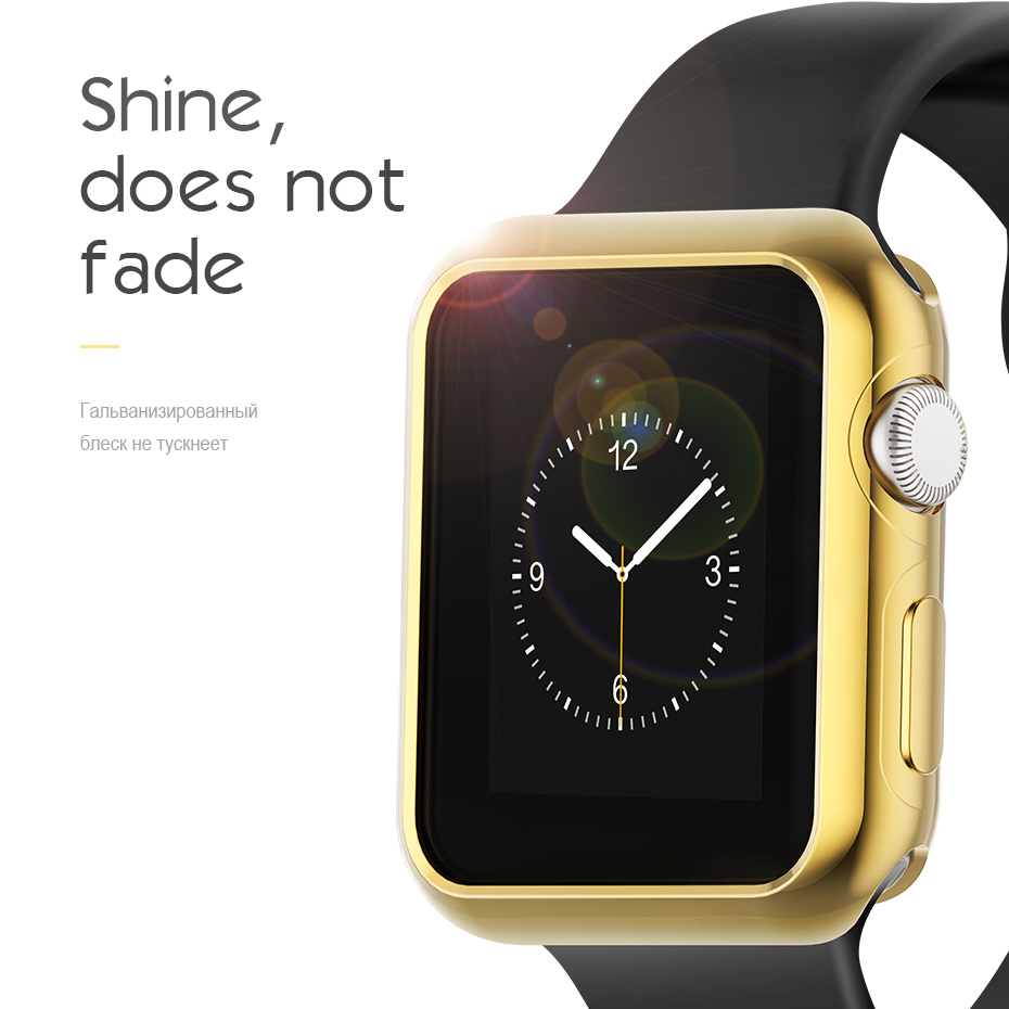 wholesale dealer a0809 20b86 US $7.08 18% OFF|Original HOCO Soft Silicone Case for Apple Watch Series 3  Cover Series 2 Gold Plated TPU Protection Cover 42mm 38mm Watchbands-in ...