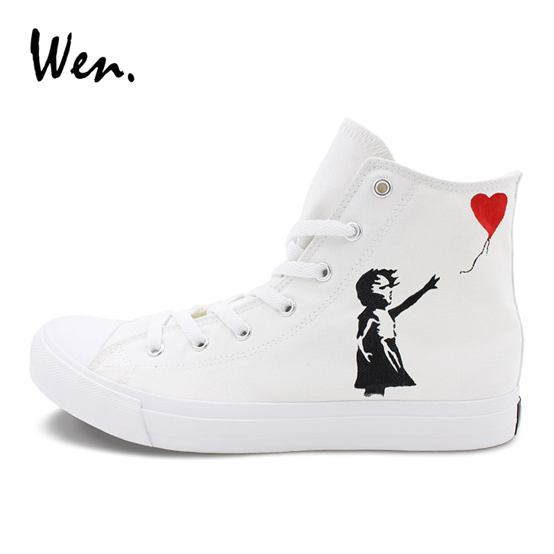 Wen Classic Canvas Shoes Hand Painted Sneakers Red Heart Balloon Little Girl Original Design Skateboarding Sports Sneakers balloon print canvas organizer