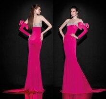 цены на 2015 Red Tarik Ediz one shoulder Long Sleeve mernaid Evening Dress Mermaid Beading Bow Sheer Neck Sexy Prom Dresses Party gown  в интернет-магазинах