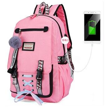 USB charging fashion female book bag backpack schoolbag cute school bag travel pack fashion for women teenage teenagers girls