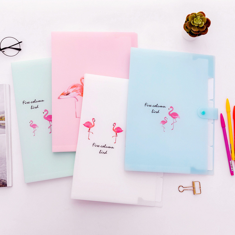 Korean Kawaii Flamingo A4 Document Bag for Girl File Folder Expanding Wallet Bill Folders Cute Creative Stationery School Supply