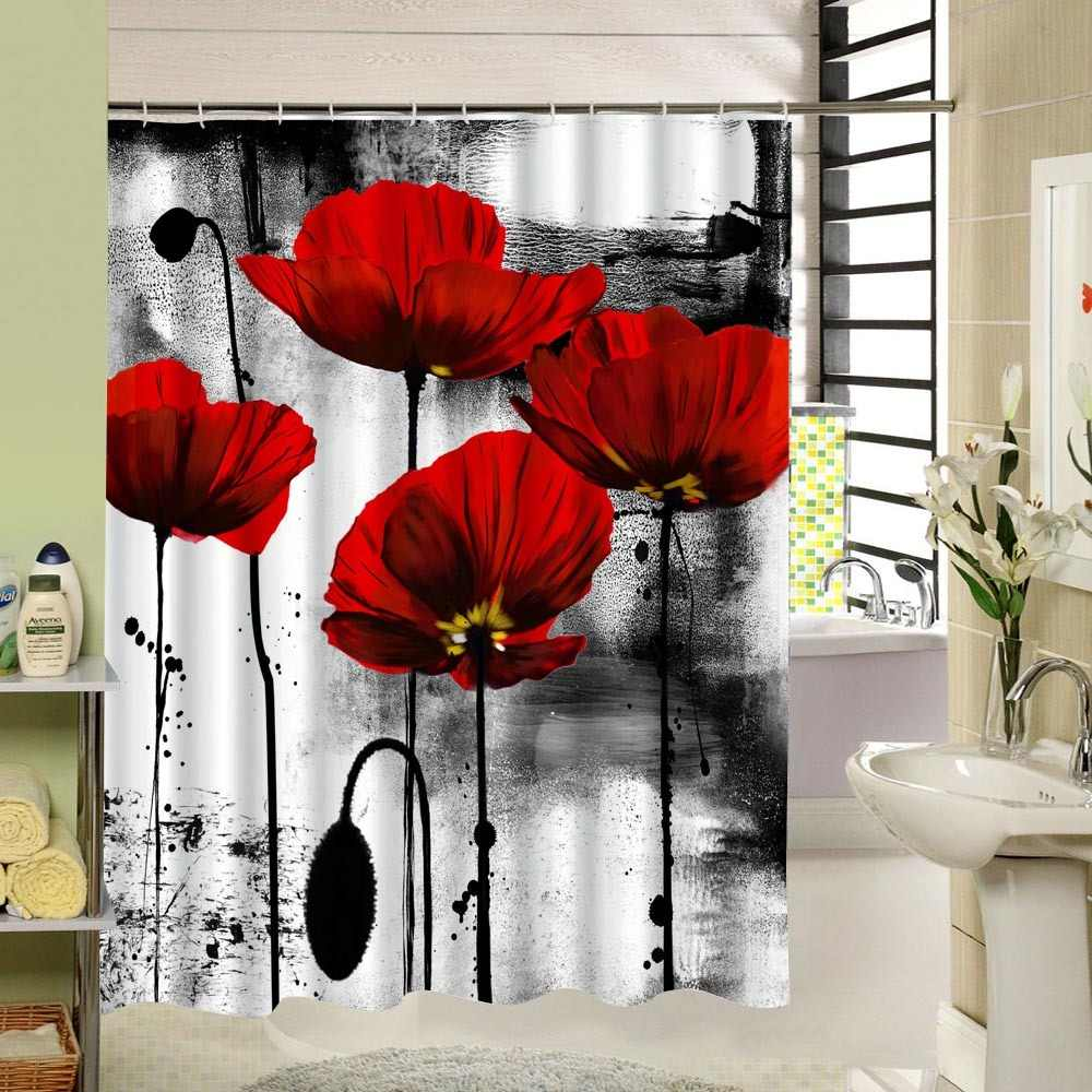 The Red Flowers Shower Curtain Grow In The River That See Active And Enthusiastic Life 3d Print Art Design Bathroom Decor Gift