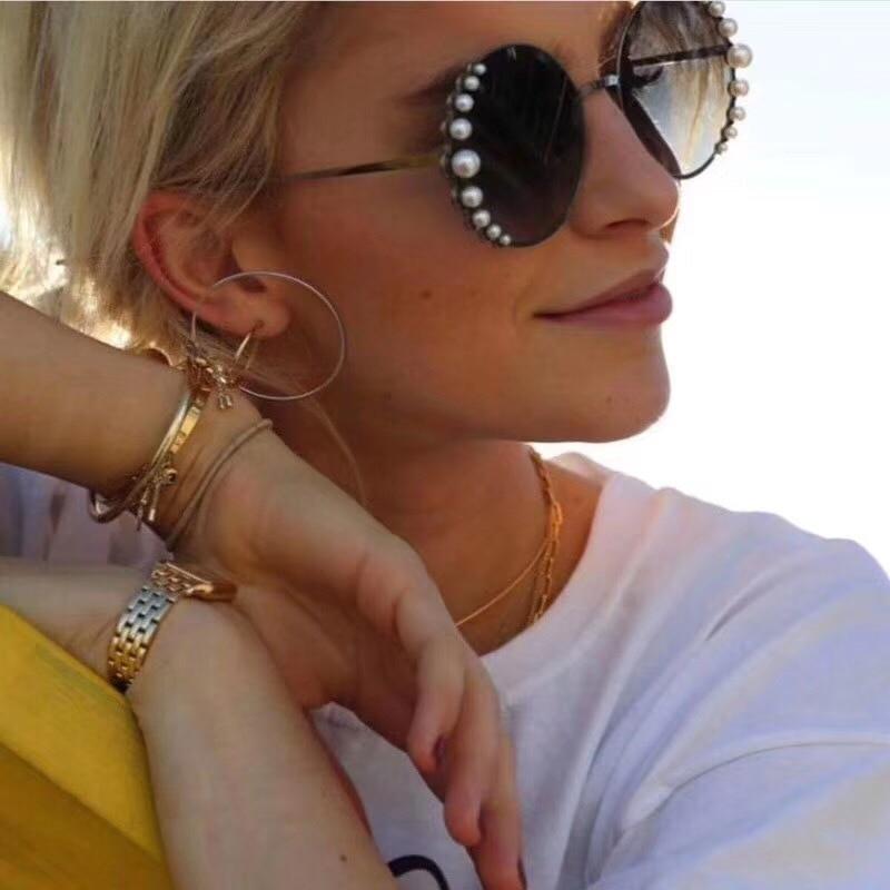 Venetian Round Gradient Pearl Sunglasses Women Brand Eyewear Pearl Vintage Brand Designer Sun Glasses Points Metal Frame