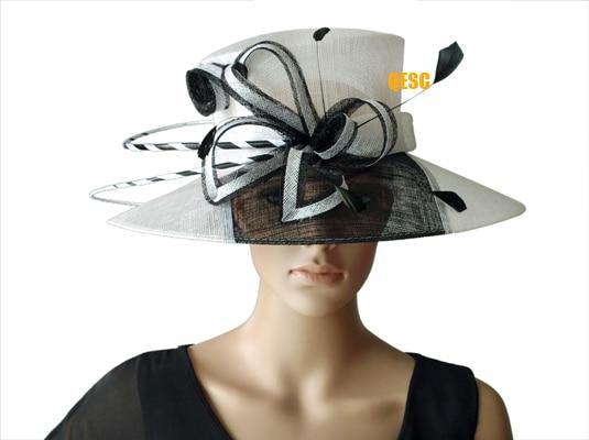 NEW WHITE BLACK two tone wide brim dress Sinamay Hats Church hats ... d2d80c2c168