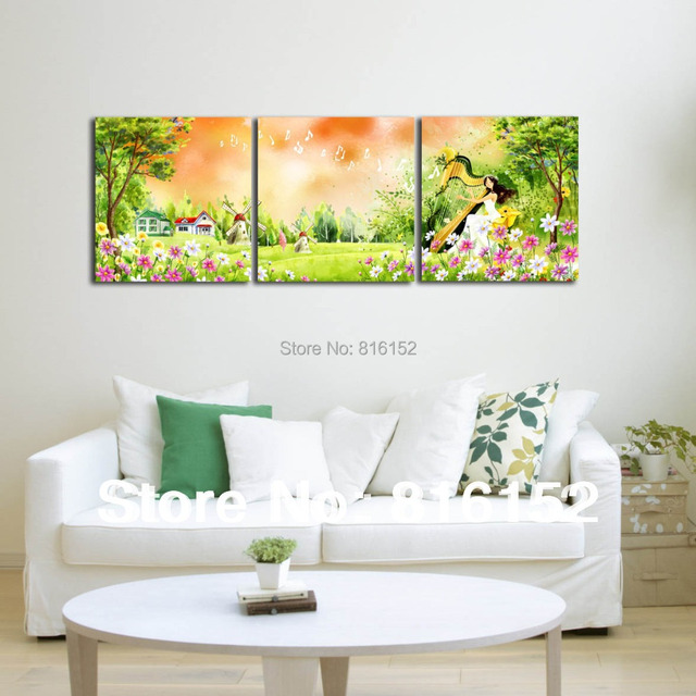 Forest harp fairy multi panel paintings wall art canvas for Canvas painting ideas for bedrooms