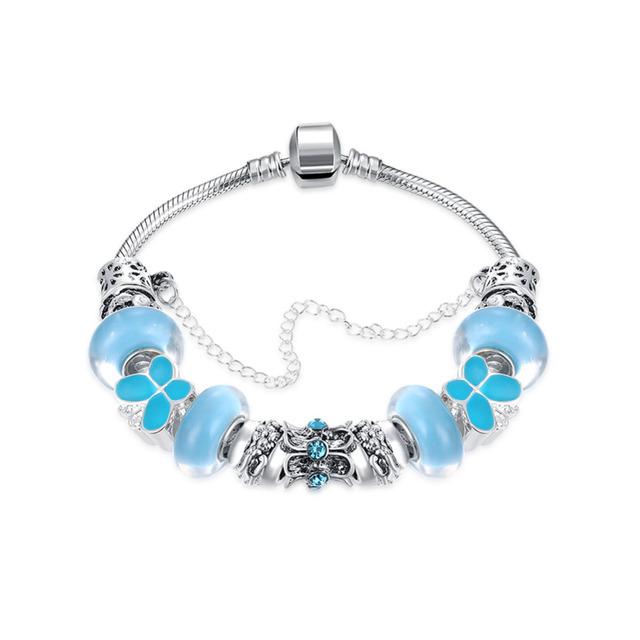 Cordón Plateado Hermosa Joyería de moda Cristal Azul Pulsera de Moda Lindo Mujeres Niñas Partido de La Mariposa Del Esmalte Cadena Brazalete