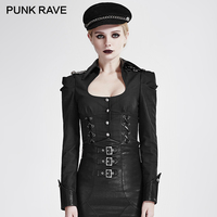 PUNK RAVE Twill Fabric Draw String Slim Military Uniform Shirts Women Black U Neck Long Sleeve