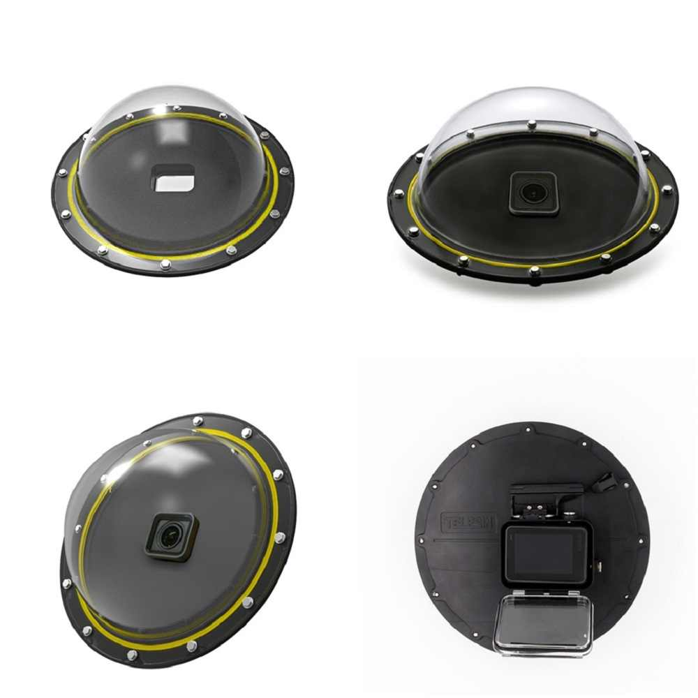 Telesin 6 dome dome porta cúpula 30 m à prova dwaterproof água caso habitação para gopro hero 5 herói preto 6 7 herói 8 gatilho cúpula capa lente acessórios