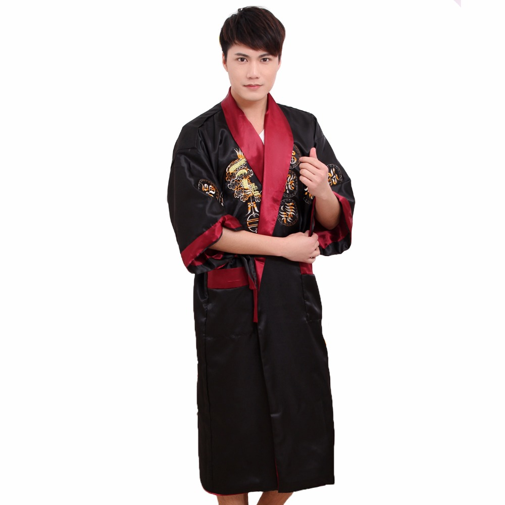 Two Side Embroidery Dragon Men Satin Kimono Robe Gown Black Red Reversible Bathrobe Casual Nightwear Sleepwear With Belt