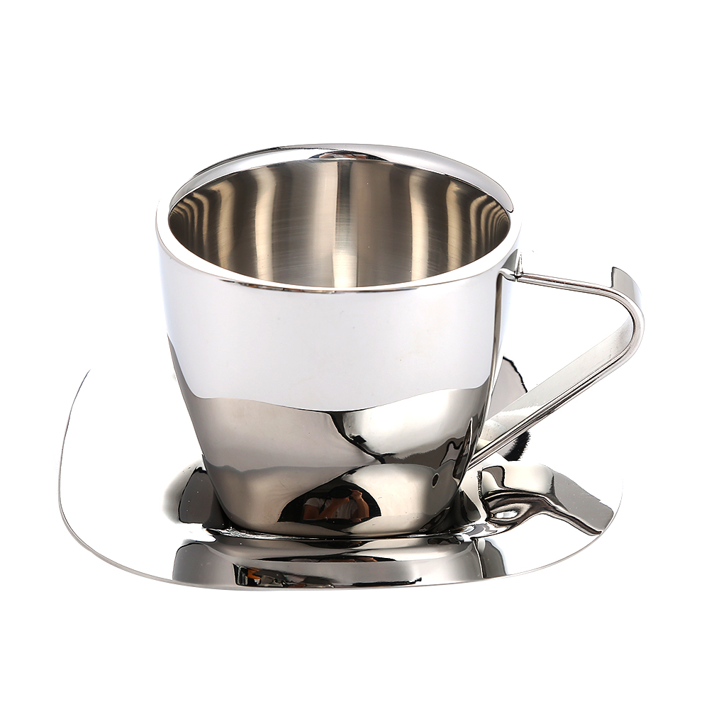 Double Wall Stainless Steel Tea Beer Coffee Milk Mug with Saucer Silver 90ml