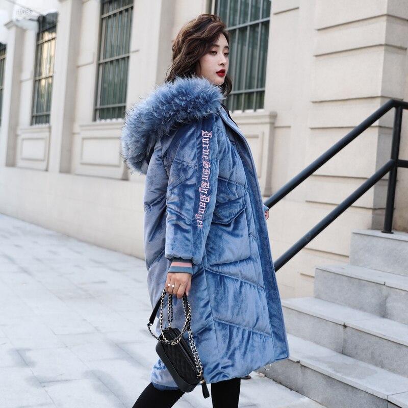 Mujer Ruso Abrigo G509 Gran Suelto Invierno Cuello Fur Cálida pink Chaqueta Negro azul Capucha Con De Parkas Fur Abajo white Nieve Mujeres rosado Tamaño Piel Gruesa Ropa rZvqrHaWf