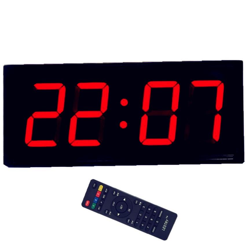Modern Digital Display 3D LED Wall Clock Alarm Clock USB Simple Remote Control