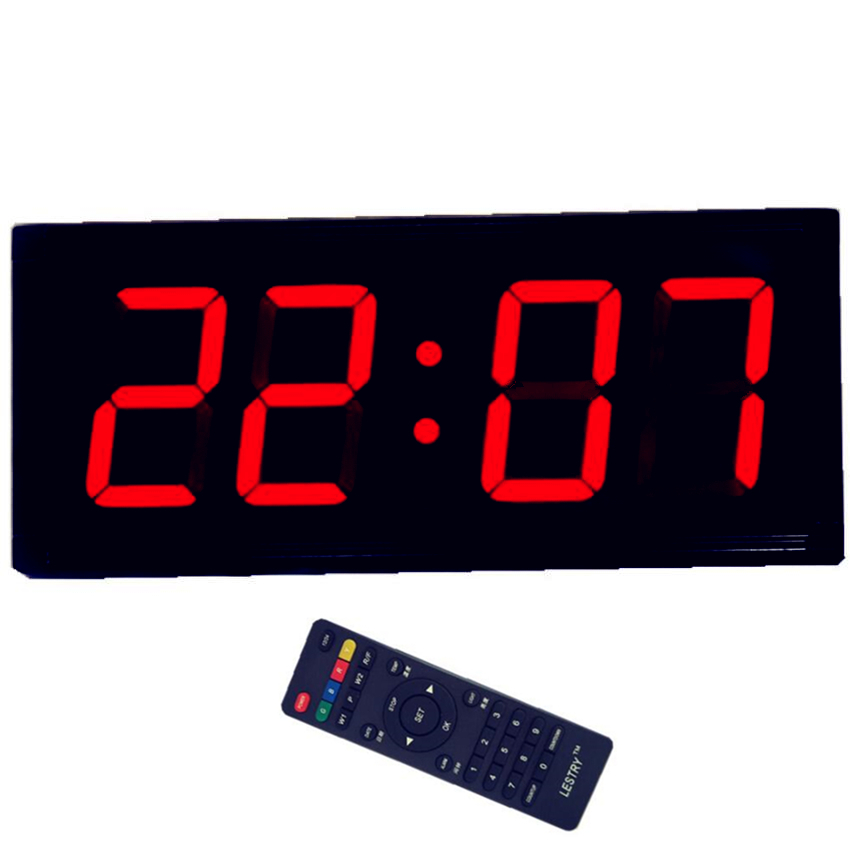 Remote Electronic LED Wall Clock Large Screen Digital Thermometer Hanging Clock Airport/station/outdoor Full Size Wall Clock