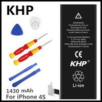100 Original Brand KHP Phone Battery For Iphone 4S Real Capacity 1430mAh With Machine Tools Kit
