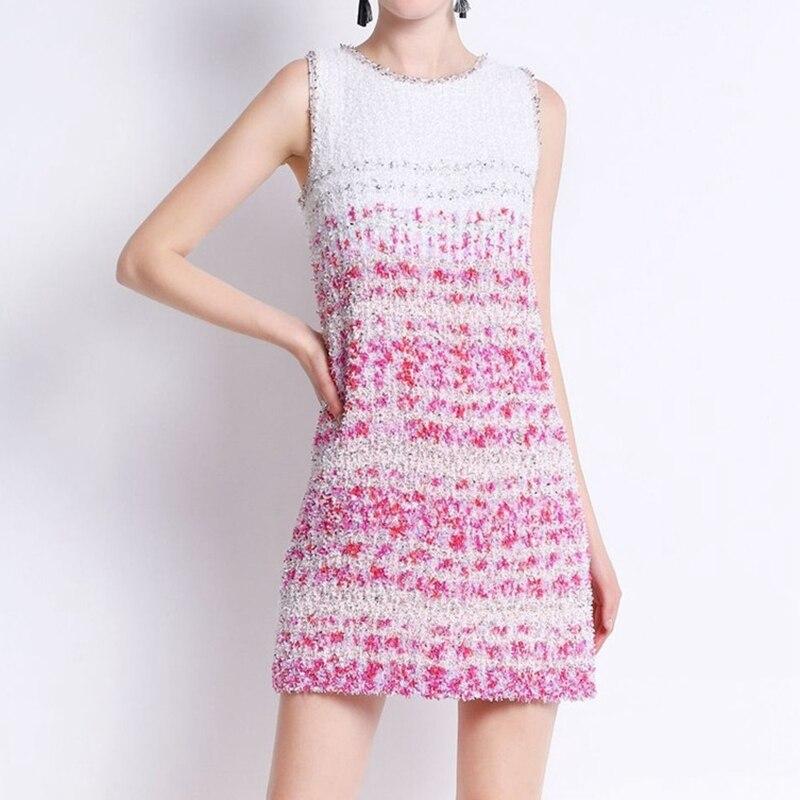 2018 летнее платье без рукавов вязаное платье женский взлетно-посадочной полосы Мини-платья