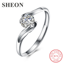 SHEON Authentic 925 Sterling Silver Luxury Geometric Prong Setting CZ Adjustable Finger Rings for Women Jewelry