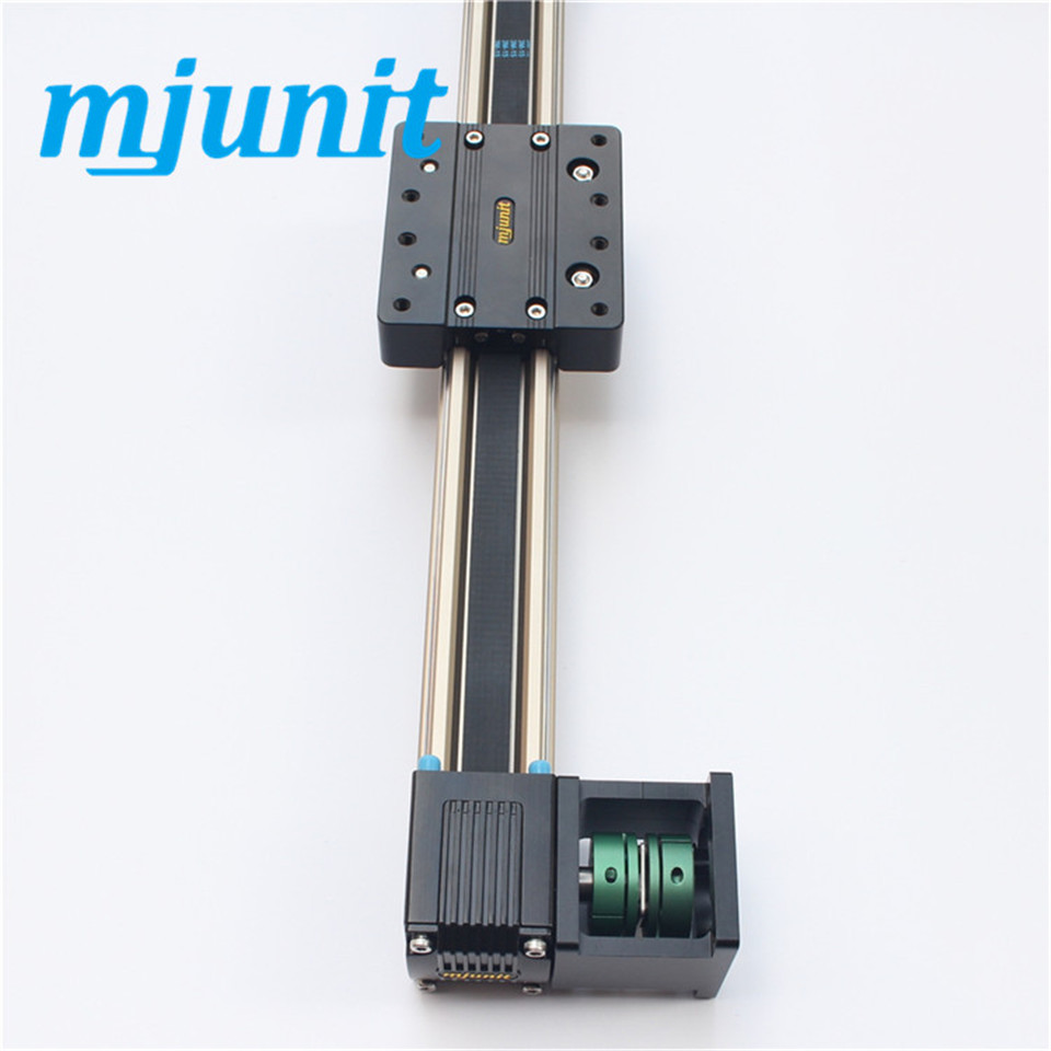 Mechanical linear unit with external roller guides, driven by an internal, completely covered toothed belt. belt driven linear slide long travel