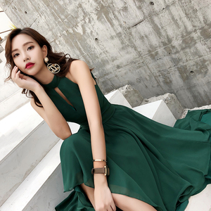 Image 5 - 2019 New Green Chiffon High Low Beach Evening Dresses Sexy Halter Sleeveless Short Front Long Back Prom Dresses 2019 Plus Size