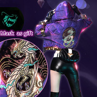 LOL KDA Akali cosplay costume sexy women cosplay Akali shoes coat+earphone+bag+mask+hat+Accessories outfits cos
