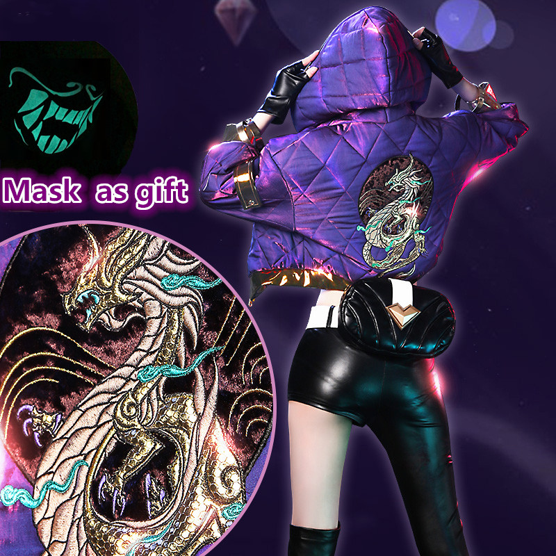 Lol Kda Akali Cosplay Costume Sexy Women Cosplay Akali Shoes Coat Earphone Bag Mask Hat Accessories Outfits Cos Aliexpress