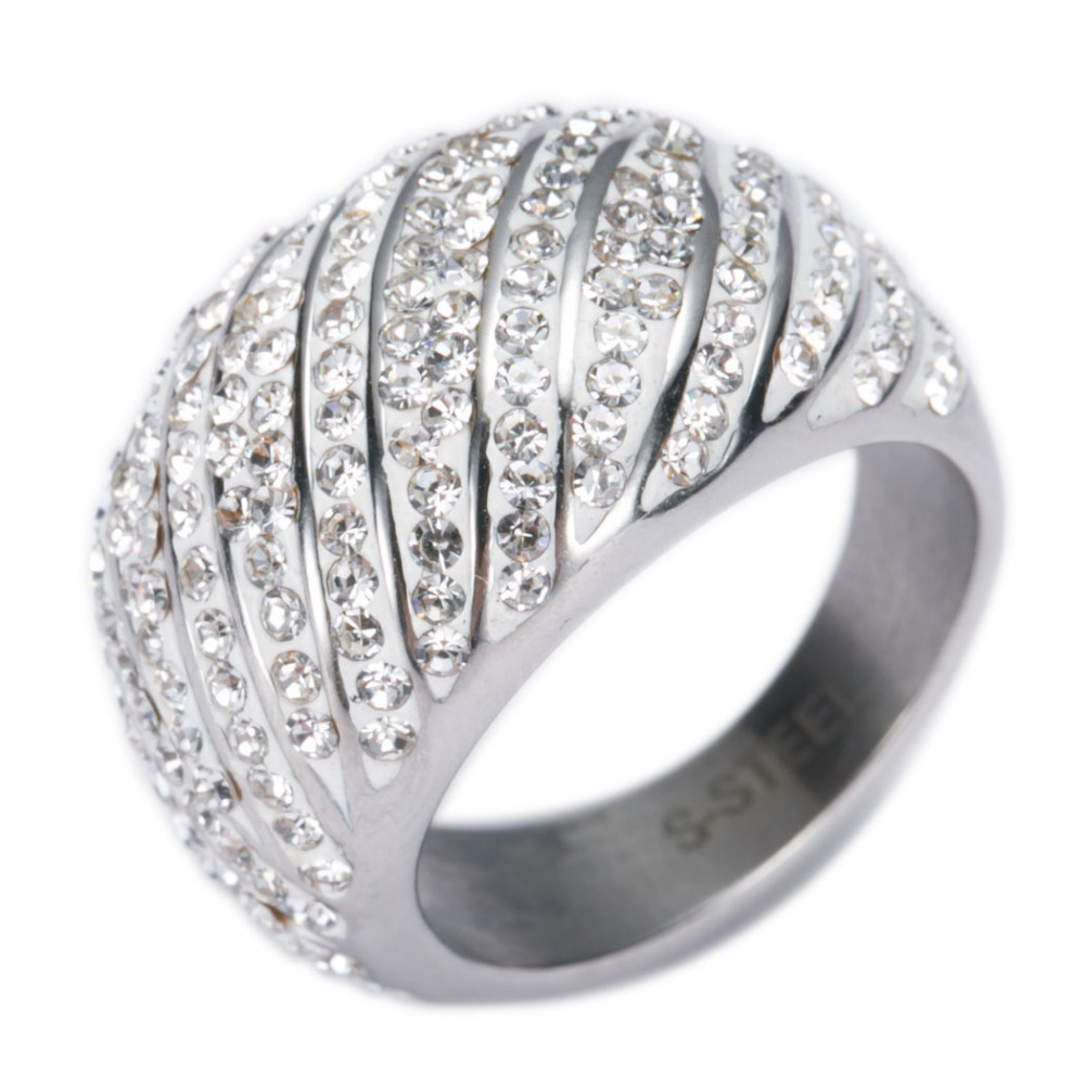 New Arrival Water wave Cubic Zirconia Stainless Steel Jewelry Wedding Rings for women