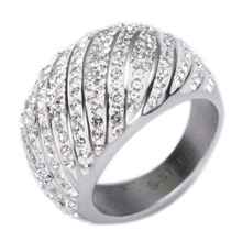 New Arrival Water wave Cubic Zirconia Stainless Steel Jewelry Wedding Rings for Rings