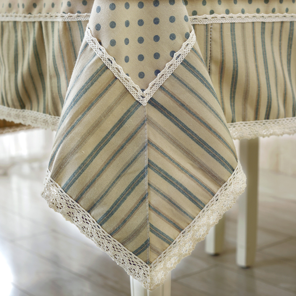 New Style Tablecloths 60 X 60 Inches Elegant Lace And Stripes Wave Point  Stitching Tablecloth Round Table Cloth Cover Tea Table In Tablecloths From  Home ...