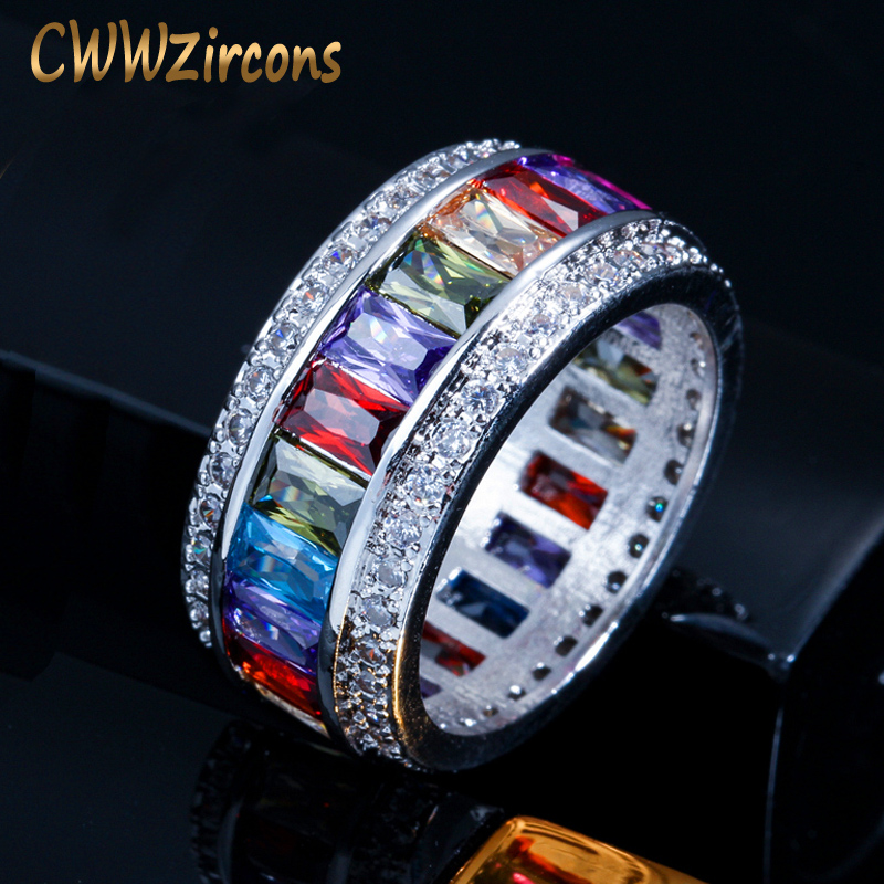 Big Multicolor Square Crystal Women Rings White Gold Plated Cocktail Wedding