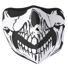 Wholesale-Motorcycle Skiing Snowboard Paintball Winter Warm Airsoft CS Skull Bandana Ghost Half Face Mask Scarf