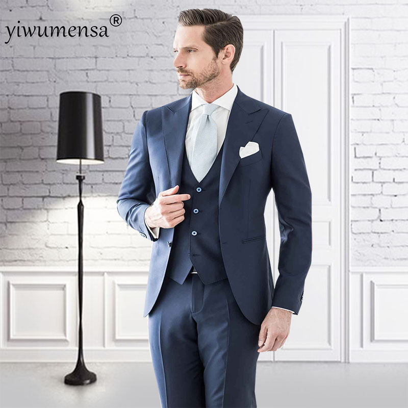 YWMS-22 Luxury Suits Costume Mariage Homme One Set Three Pieces (jacket+pants+vest) Navy Blue Suits Mens 2018 Fatos Noivo Suit