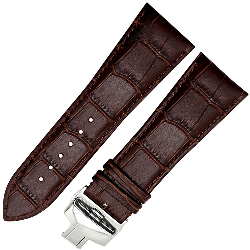 BRETAGenuine Leather Straps FOR Men's Watch Black Brown Strap Butterfly Buckle 22MM 23MM 24MM 26MM watchband new matte red gray blue leather watchband 22mm 24mm 26mm retro strap handmade men s watch straps for panerai