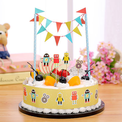 Lovely Robot Kids Boys Birthday Party Supplies Cake Accessories Topper Banner Bunting Set Baby Shower Favors 1set