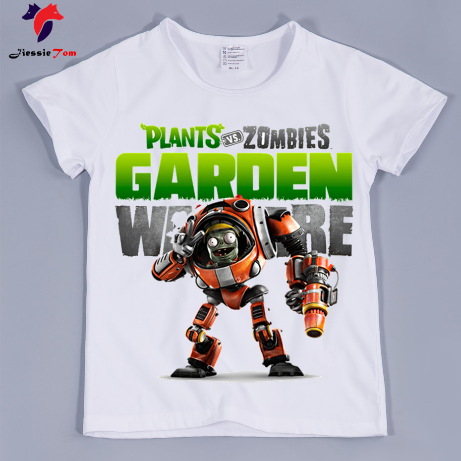 New Arrival,Kids Game Garden Warfare Tee Shirts 2018 Summer Short Sleeve Plants and Zombies T-shirt for Boy and Girl,Baby Top