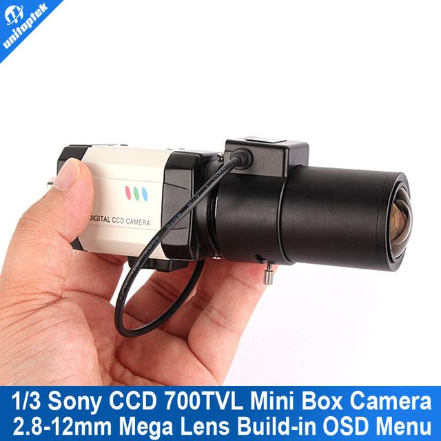 Unitoptek mini câmera da bala 700tvl 1/3 sony effio-e ccd 2.8-12mm lens menu osd alto grau cctv box câmera de segurança