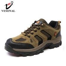 VESONAL Zapatillas antideslizantes para hombre, calzado informal de malla transpirable, al aire libre para senderismo, para otoño e invierno, 2019