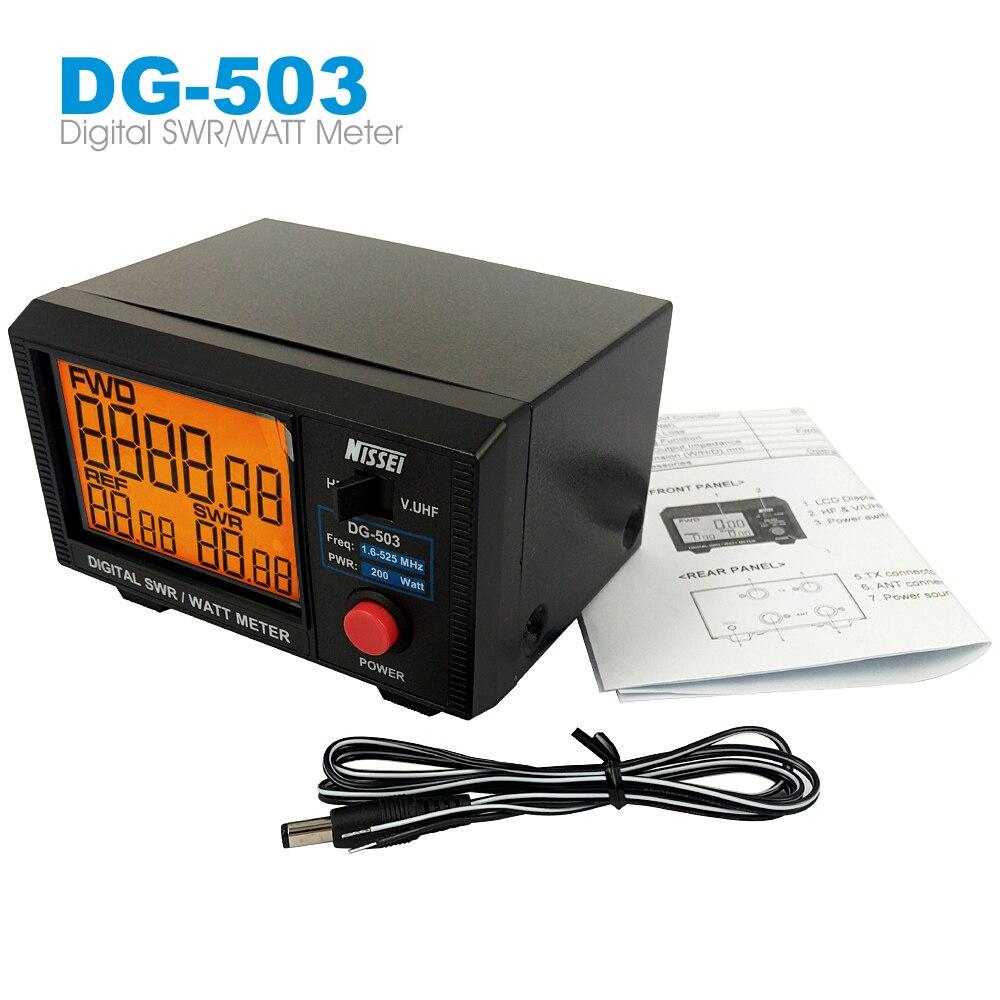 LCD Display Standing Wave Ratio Nissei DG-503 Digital SWR & Watt Meter 1.6-60MHz/125-525MHz 200W For Two-way Radio Walkie Talkie