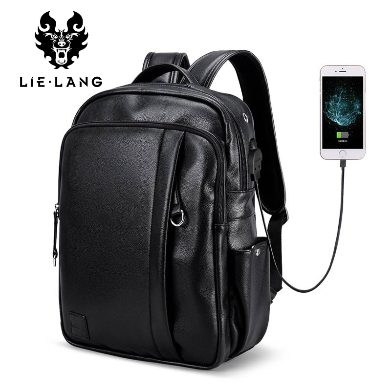 LIELANG Black Backpack For Men Leather Bagpack Laptop Travel Bag Waterproof Large-Capacity Men's Business Bag Rucksack Leather new brand swissgear waterproof backpack large capacity 16 5 17 inch laptop bag male bagpack rucksack