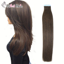 "HiArt Hair Tape In Human Hair Extensions 100% Real Virgin Cuticle Remy Hair Extension 2# Salon Straight Fusion Hair 18""20""22""(China)"