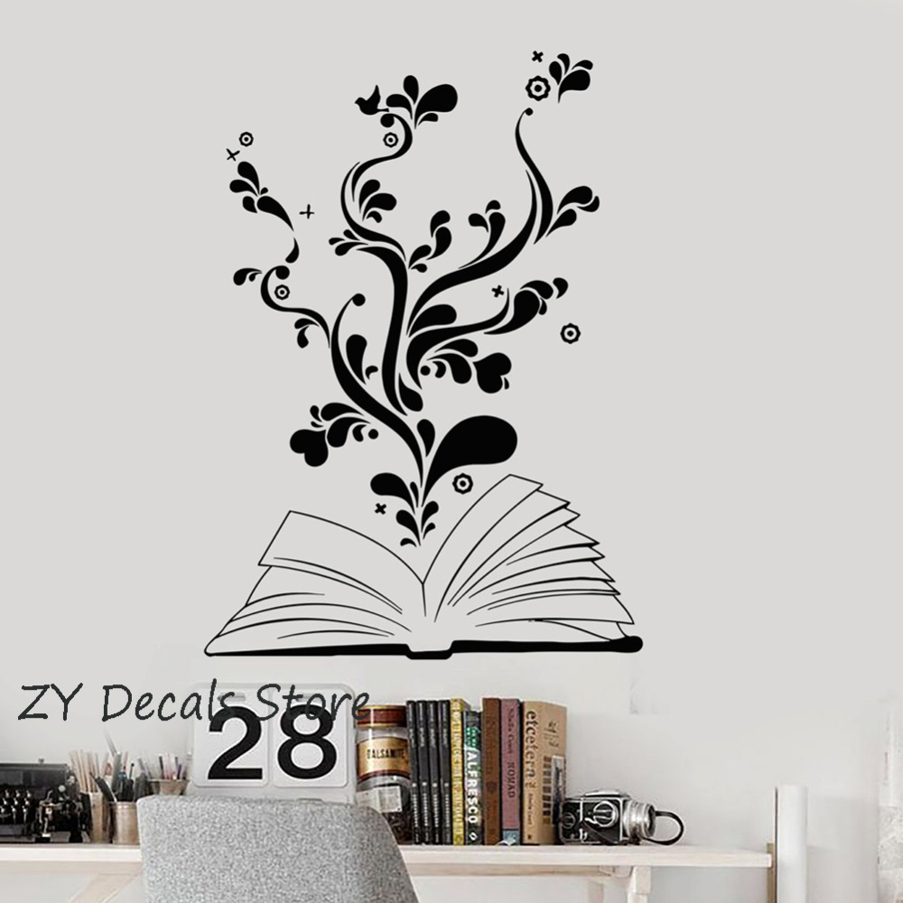 Book Reading Wall Stickers Bedroom Flower Heart Romantic Teen Decor Decals Removable Vinyl Wall Decal Kids Classroom Mural S662