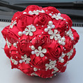 Elegant Best Quality Wine Red Color Silk Rose Bridal Bouquet Diamond Artificial Flower Durable Heavy Brooch Wedding Bouquet W224