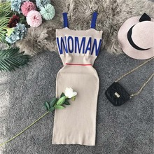 Women Dress 2019 Letter Knitted Spaghetti Strap Solid Stretch Bodycon Dresses Summer Sexy Club Vestidos Verano knit dress letter цена 2017