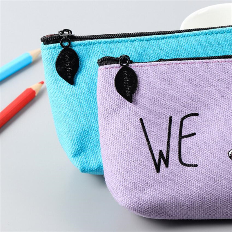 1pc 19 5 9cm Student Pencil Bag Large Capacity Canvas Fabric Cat Korean Stationery Pencil Case For Kids Gift for School Supplies in Pencil Bags from Office School Supplies