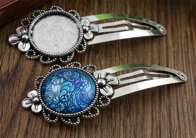 20mm 5pcs High Quality Antique Silver Plated Copper Material Hairpin Hair Clips Hairpin Base Setting Cabochon Cameo  J5-20