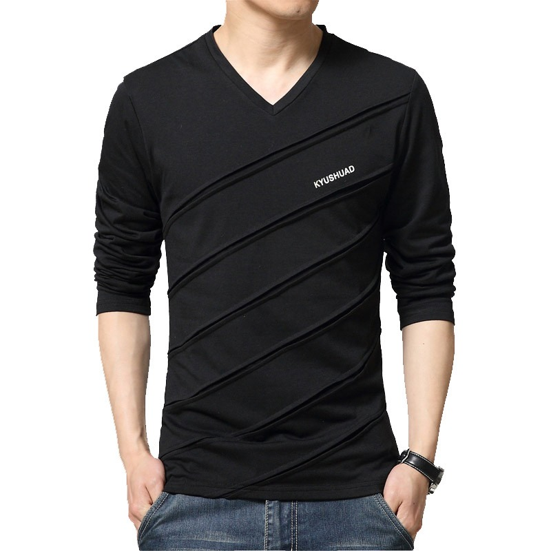 a1bcf9e8 BROWON Fashion Trend Autumn T Shirt Men V Collar Long Sleeve T-Shirt Large  Size