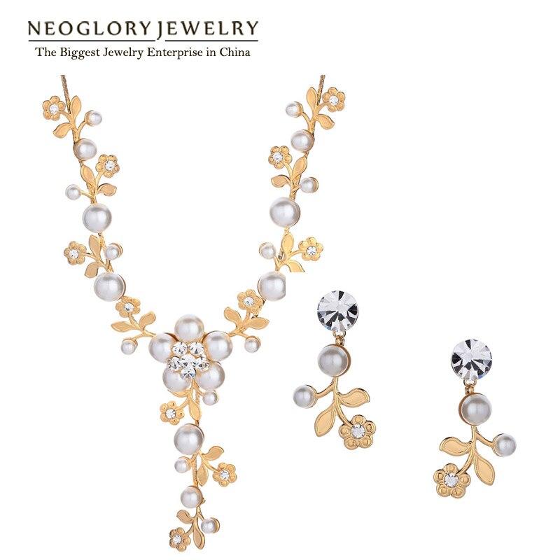 Neoglory Fashion Rhinestone Simulated Flower Pearl font b Wedding b font Bridal font b Jewelry b