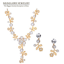 Neoglory Fashion Rhinestone Simulated Flower Pearl Wedding Bridal Jewelry Sets Accessories for Women 2016 New Vintage Retro Love