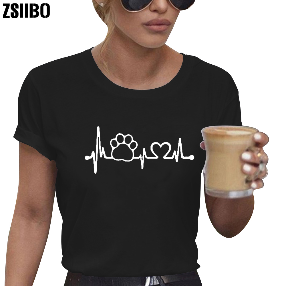 ZSIIBO 2019 Paw Heartbeat Lifeline Dog Cat Women Tshirt Halajuku Casual Funny T Shirt for Unisex Lady Girl Top Tees Hipster