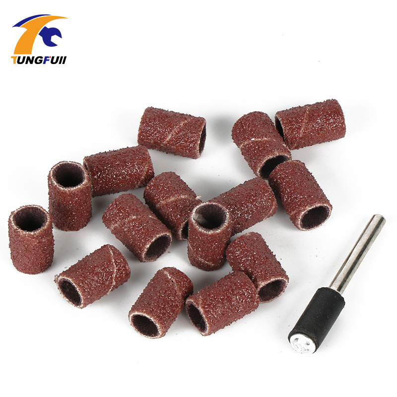 Tungfull drill attachment 15 PCS Sanding Band 6.35mm with drum sander dremel accessories Fits for Dremel Rotary Tools new 20pc fold felt sanding dremel accessories for rotary tools